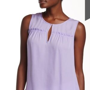 "👚 DVF ""Dalton"" Sleeveless Lavender Silk Blouse"